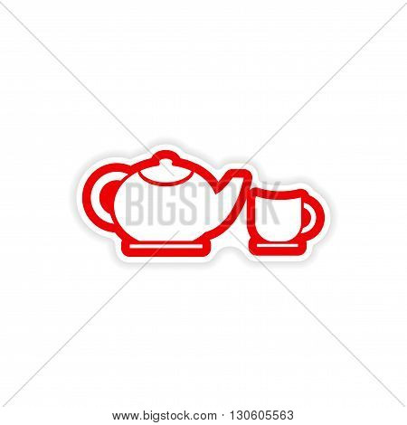 paper sticker teapot and cup on white background