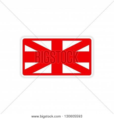 paper sticker British flag on white background