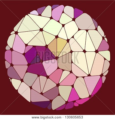 Varicolored geometric elements grouped in a circle on a purple background. Abstract vector illustration.
