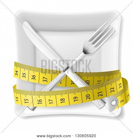 Square plate with measuring tape and crossed fork and knife. Diet concept