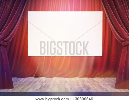 Theater Stage With White Banner