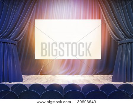 Blue Stage With Billboard