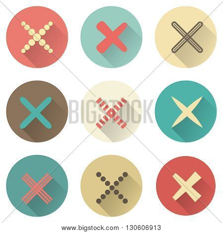 Set of different retro crosses and tics. Confirmation, right and wrong choices, task completion, voting, isolated on white background. Red, brown and green colors. Elements in flat design.
