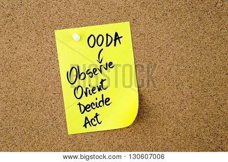 Business Acronym Ooda Written On Yellow Paper Note