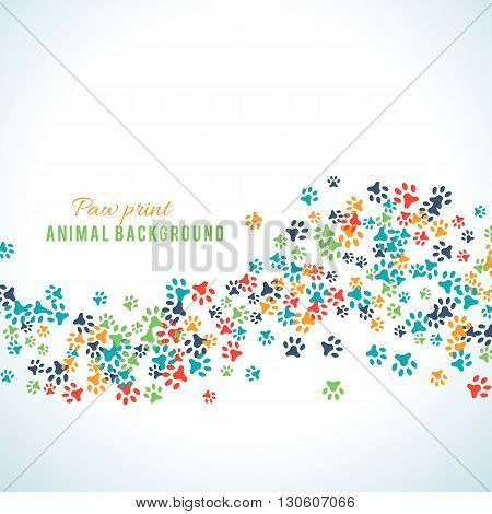 Colorful animal footprint ornament border isolated on white background. illustration for animal design. Random foot prints border. Many bright trail. Frame of cute paw trace. World wildlife day