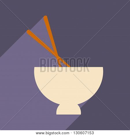 Flat with shadow icon and mobile application soup bowl