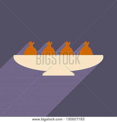 Flat with shadow icon and mobile application meat dumplings