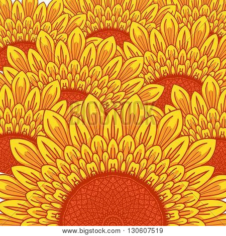 summer Sunflower background with bright yellow flowers.