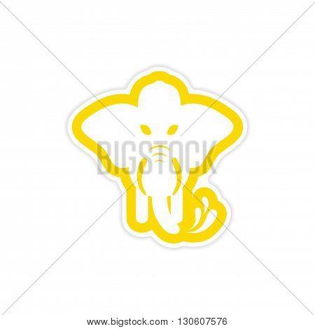 stylish paper sticker on white background elephant firefighter