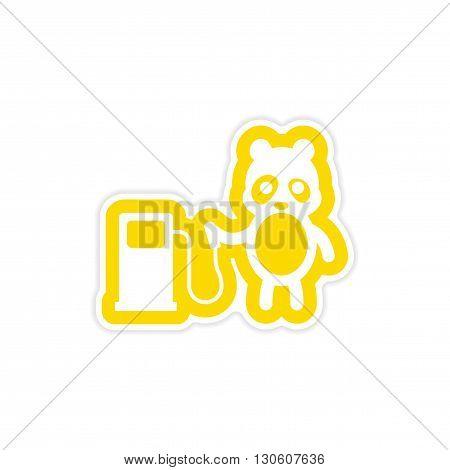 stylish paper sticker on white background panda petrol pump