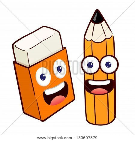 Vector stock of happy pencil and eraser cartoon character