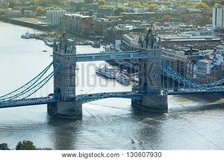 LONDON, UK - OCTOBER 14, 2015. London panorama, Tower Bridge and river Thames