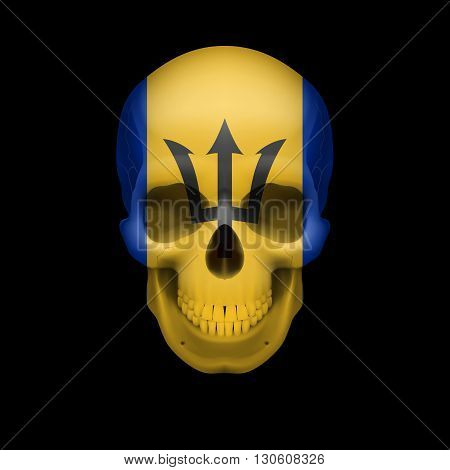 Human skull with flag of Barbados Threat to national security war or dying out