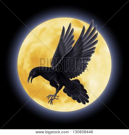 Black crow flying on the background of a full moon