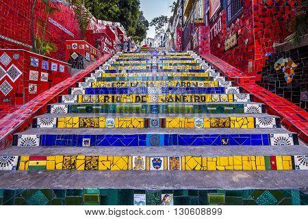 Rio de Janeiro, Brazil - October 2, 2012: Escadaria Selaron, also known as Lapa Steps, in Rio de Janeiro, Brazil.