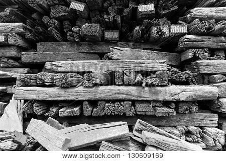 Stack of old lumber for reuse in construction or build the Antique furniture