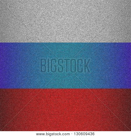 Russian tricolor with jeans texture. Design background for Day of Russia May 9 February 23. Denim fabric poster. Vector illustration