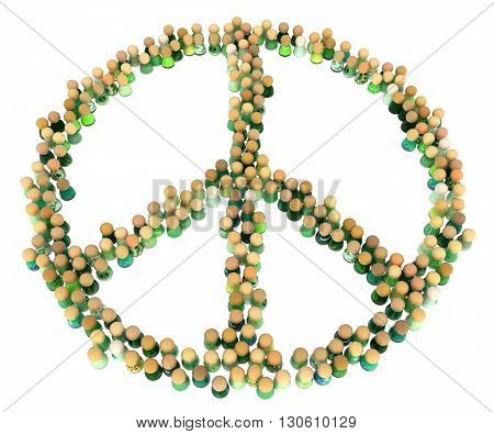 Crowd of small symbolic figures peace symbol shape 3d illustration horizontal