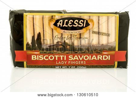 Winneconne WI - 19 May 2016: Package of Alessi biscotti lady fingers on an isolated background