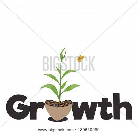 Isolated vector illustration of growth concept with butterfly
