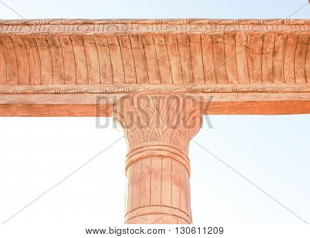 Single Column . Column on blue sky background.