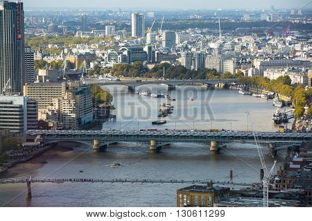 LONDON, UK - OCTOBER 14, 2015. London panorama Westminster side of the city. View include River Thames and bridges