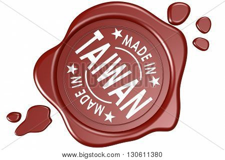 Made in Taiwan label seal isolated on white background, 3D rendering