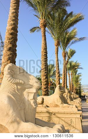 Statue of ram-headed sphinx and pharoah at Sun Light