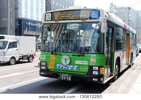 TOKYO, JAPAN -MARCH 29 2016: Commuter bus in the Shin-Ohashi-dori Street on MARCH 29, 2016 in Tokyo,Japan