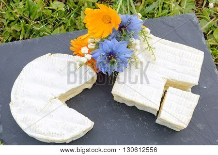 a normandie French cheese on a plate with flowers