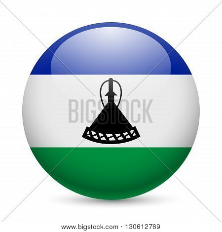 Flag of Lesotho as round glossy icon. Button with flag colors