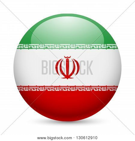 Flag of Iran as round glossy icon. Button with Iranian flag