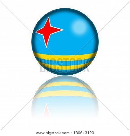 Aruba Flag Sphere 3D Rendering