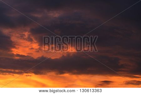 Sunset with rain clouds. Meteorology. Synoptics. Changes in the weather. Cloud Front.