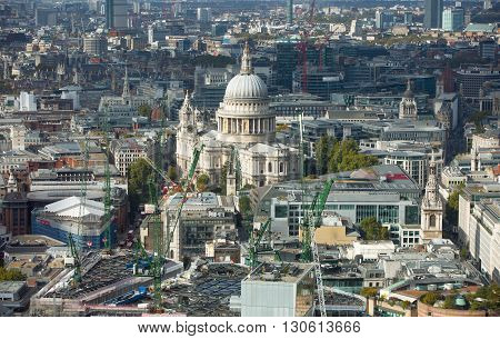 LONDON, UK - OCTOBER 14, 2015. London panorama Westminster side of the city and St. Paul's cathedral