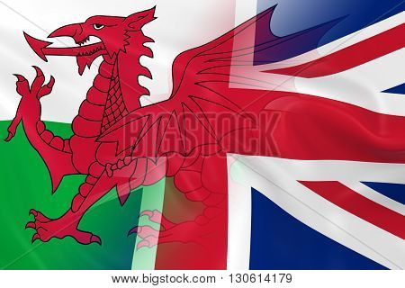 Welsh and UK Relations Concept Image - Flags of Wales and the United Kingdom Fading Together - 3D Illustration