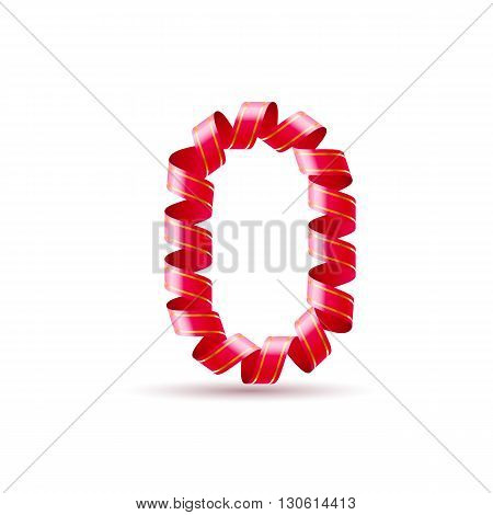 Number zero made of red curled shiny ribbon