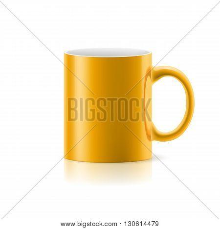 Yellow mug made of ceramics on white background.