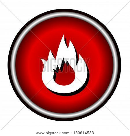 Flat Bonfire icon on red circle, white background