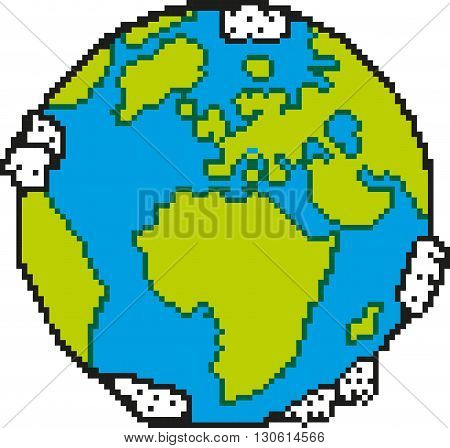 Pixel art planet earth vector illustration on white background