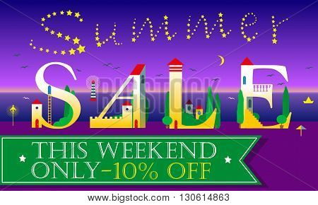 Summer Sale Inscription. White houses Font. Stars in the sky. Night beach. Hotels at the coast line. Green banner for custom text. Vector Illustration