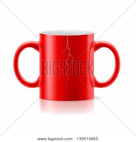 Red mug with a handle on each side on white background.