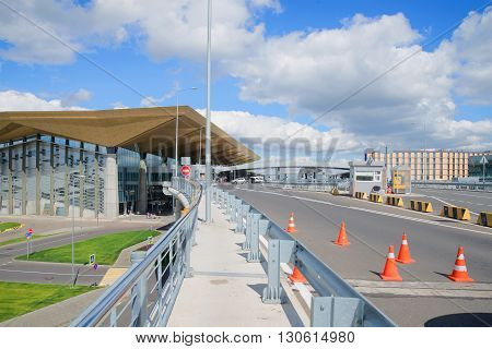 SAINT PETERSBURG, RUSSIA - JULY 27, 2015: At the new terminal of Pulkovo airport on a summer day. The road goes to the main airport of the city Saint Petersburg