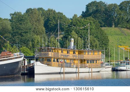 LAPPEENRANTA, FINLAND - AUGUST 09, 2015: The old passenger steamer in the harbor of lake Saimaa. Tourist landmark of the city Lappeenranta, Finland