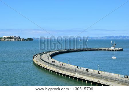 SAN FRANCISCO, USA - MAY 08, 2016: People walking on a pier in San Francisco