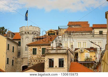 Tower Sahat Kula (clock Tower) On Square Of Nikola Dzhurkovicha On The Old Town In Herceg Novi, Mont