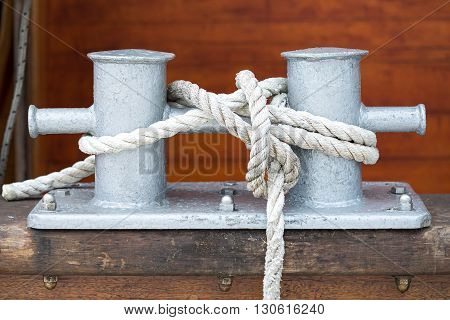 bollards and rope on a boat close up view