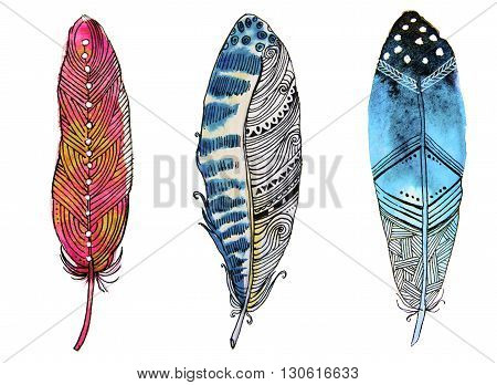 Hand drawn watercolor vibrant feather set. Boho style feather. illustration feather isolated on white.