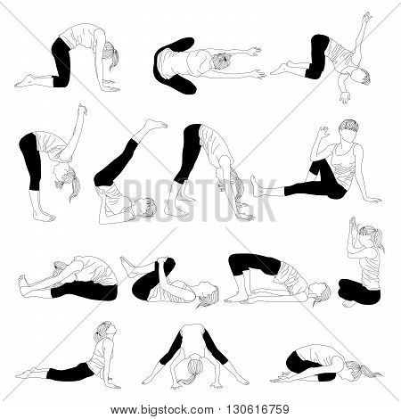 Vector silhouette of a woman doing asana. Collection of exercises from a headache