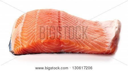 Fresh Raw Salmon Fillet Isolated On White